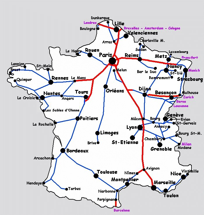 carte de lignes tgv - Photo